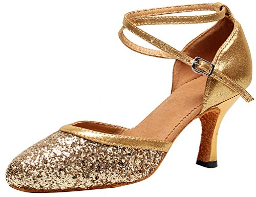 Abby 7122 Womens Practice Latin Tango Cha-cha Professional Dance Shoes 2 In Closed Toe PU Ankle Strap Gold DgvakZo
