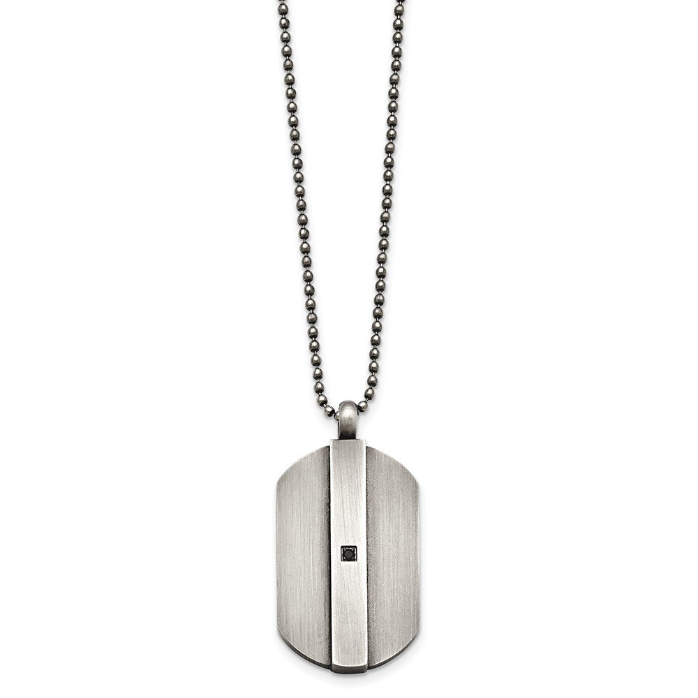 Length Jay Seiler Stainless Steel Antiqued Brushed w//Black Cubic Zirconia Necklace 20 in,
