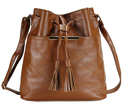 Stitched Pocket Hobo (Scarleton Stitched Drawstring Bag H195404 - Brown)