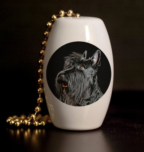 (Scottish Terrier Porcelain Fan / Light Pull)