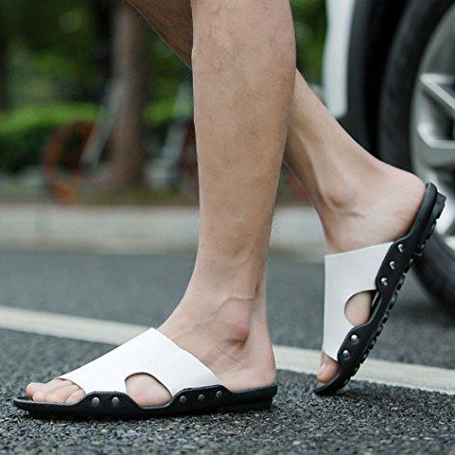 Plage décontractée hommes respirants pantoufles Sandales été maison plat tongs chaussures@blanc zEAyenfsh