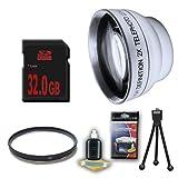 DM Optics 2X Telephoto and UV Lens + 32GB SDHC Memory Card for Samsung HMXH100 HMXH104 HMXH105 HMXH106 Camcorders DavisMAX Accessory Bundle