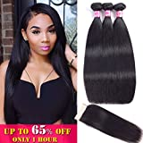 Straight Bundles with Closure Unprocessed Virgin Brazilian Hair Straight 100% Human Hair with Lace Closure Free Part Natural Color (18 20 22 with 16Closure) …