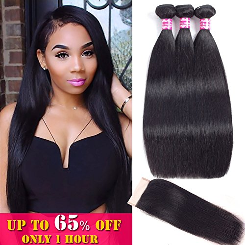 Straight Bundles with Closure Unprocessed Virgin Brazilian Hair Straight 100% Human Hair with Lace Closure Free Part Natural Color (18 20 22 with 16Closure) … by Alula Hair
