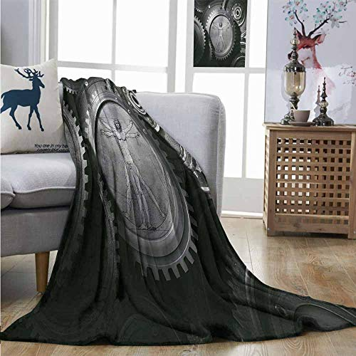 Plush Throw Blanket Industrial Wheels of System with Medieval Old Human Body Animation Device Gears of Whole Theme Blankets W54 xL84 -