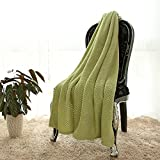 lime green couch Simple&Opulence Solid Coral Jacquard Dot Velvet 50 X 60-Inches Throw Blanket, Green