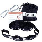 BASTUO Hammock Straps 2pcs Camping Hammock Tree Hanging Straps 2 pcs Carabiners & Bag,Lightweight,Easy Setup,Black White Stitching