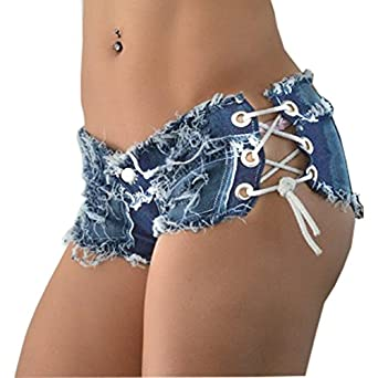 Yollmart Women Sexy Cut Off Low Waist Denim Jeans Shorts