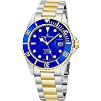 Revue Thommen Mens Diver Watch Automatic Sapphire Crystal - Analog Blue Face Two Tone Metal Band Stainless Steel Dive Watch Swiss Made - Scuba Diving Watches for Men Waterproof 300 Meters 17571.2145