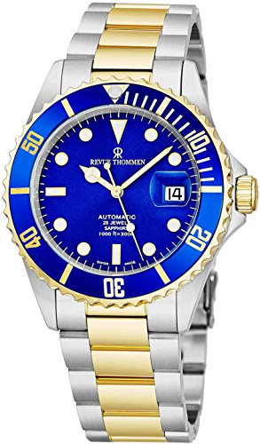 (Revue Thommen Mens Diver Watch Automatic Sapphire Crystal - Analog Blue Face Two Tone Metal Band Stainless Steel Dive Watch Swiss Made - Scuba Diving Watches for Men Waterproof 300 Meters 17571.2145)