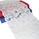 White Wide Floral Stretchy Lace Elastic Trim Fabric 5 Yard