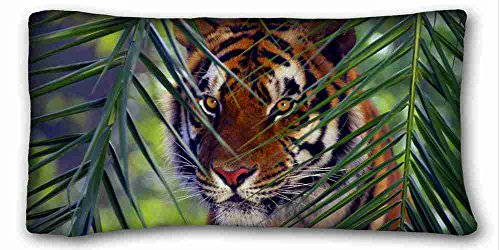 Custom Cotton & Polyester Soft ( Animals tiger faces leaves look striped ) DIY Pillow Cover Size 20