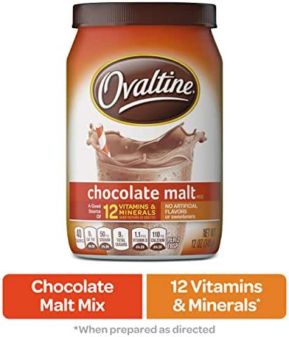 NESTLE OVALTINE Chocolate Malt Mix, 12 oz. Canister | Easy to Prepare Fortified Malt Beverage