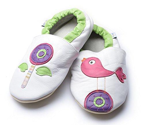 Jinwood designed by amsomo Verschiedene Modelle - Barfußschuhe - Hausschuhe für Erwachsene - Echt Leder - Damen - Herren - Mini Shoes DIV. Groeßen 36/37-44/45 flower & bird white