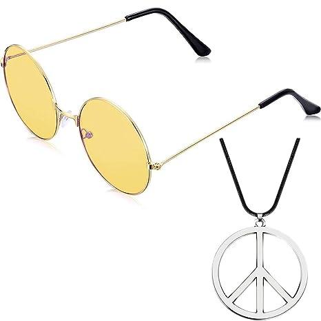 Comtervi Gafas de Sol, Redondas, Retro, Vintage, Lentes polarizadas, Estructura de Metal, Gafas Redondas, Gafas Hippi, Gafas de Exterior con símbolo ...