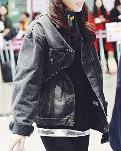 Autunno Fidanzato Di Jeans Jacket Tempo Libero Cappotto Solidi Vintage Outerwear Schwarz Donna Manica Con Lunga Tasche Giubbino Eleganti Single Moda Primaverile Breasted Grazioso Colori oeQCrdWExB