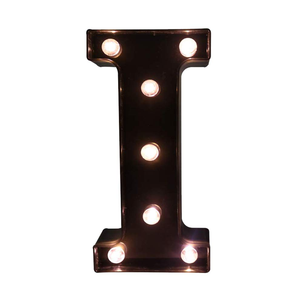 Glintee LED Marquee Letter Lights Black Alphabet Light Up Sign for Wedding Home Party Bar Decoration Battery Powered Letter Decor-I