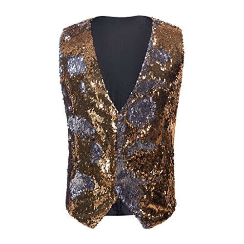 3 Button Gold Suit Wool - PYJTRL Mens Fashion Double-Sided Two Colors Sequins Waistcoat Vest (Gold + Silver, US 44R)