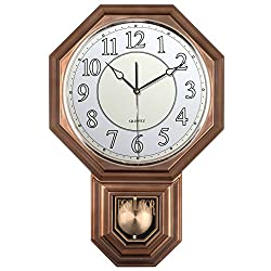 Traditional Schoolhouse Pendulum Luminous Wall Clock Chimes Hourly with Westminster Melody Made in Taiwan, 4AA Batteries Included (PP0262-L Vintage Bronze)