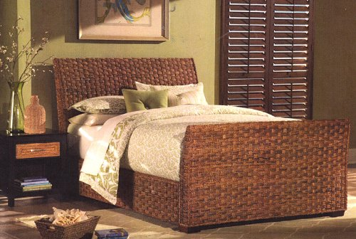 Bed Plantation Queen - All Natural Indoor Wicker and Rattan Plantation Complete Queen Bed