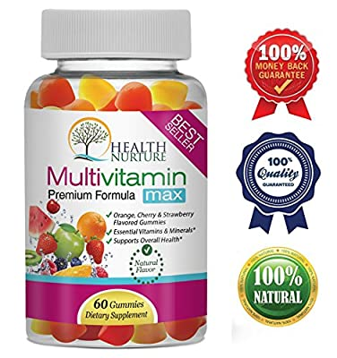 HEALTH NURTURE MULTIVITAMIN MAX - Gummy Vitamins for Men and Women- Contains Essential Minerals & Vitamins A, C, D, E, B-6, Vitamin B-12, Folic Acid, Biotin, Pantothenic Acid
