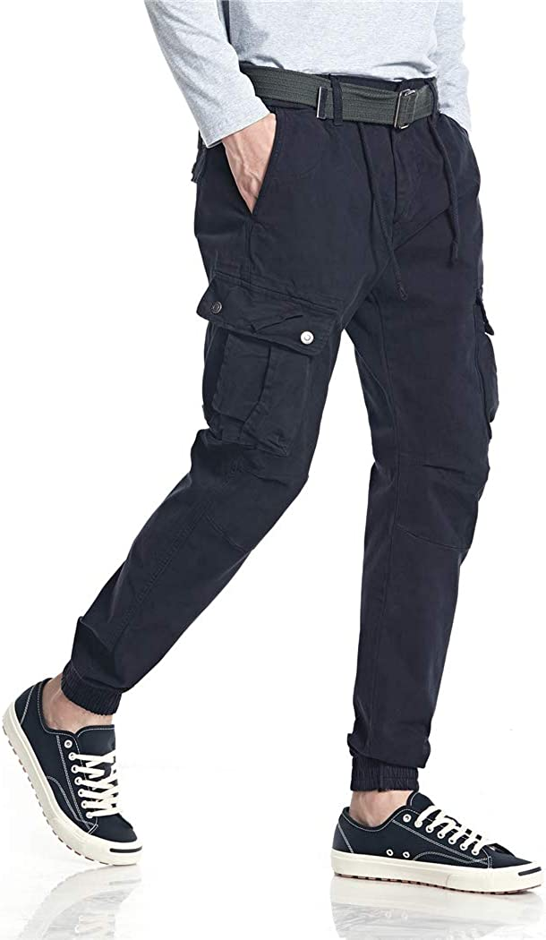 Mens Jogger Pants Casual Cotton Elastic Waist Cargo Pants with Pockets and Drawstring Trousers Sweatpants