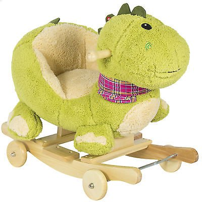 Kids Dragon Animal Rocker W/ Wheels Children Ride On Dinosaur Toy Rocking Chair
