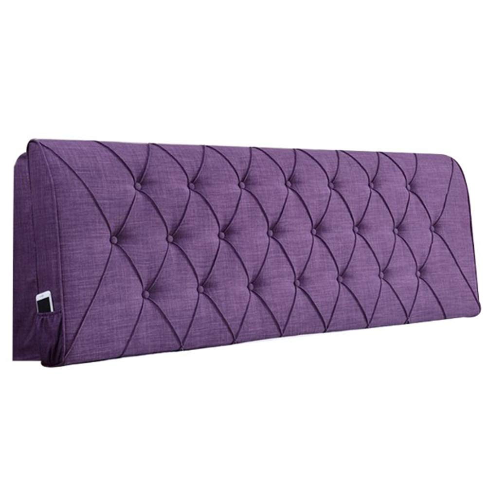 FLHSLY Bedside Cushion, Reading Pillow Linen Solid Color Bedroom Headboard Soft Case Lumbar Support Cushion Large Backrest,Purple,1606010cm