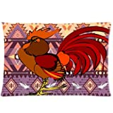 Custom Unique Design Cool Colorful Rooster/Cock Zippered 20x30 inch Twin Sides Facial/Skin Care Pillowcase Pillow Covers