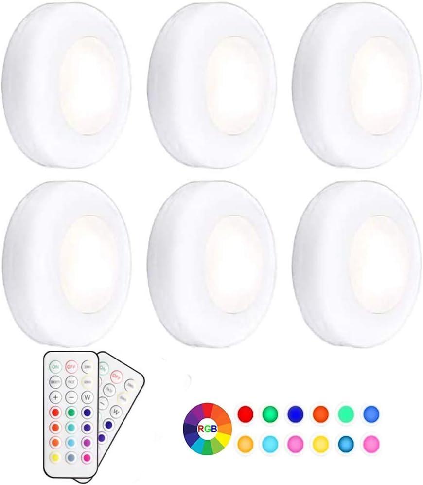 Pursnic Luces debajo del gabinete, luces LED PGB inalámbricas RGB, luces de clóset, luces nocturnas regulables con control remoto de la batería, paquete de 6