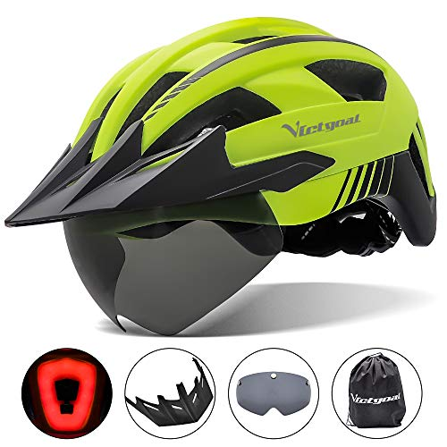 VICTGOAL Bike Helmet with USB Rechargeable Rear Light Detachable Magnetic Goggles Removable Sun Visor Mountain & Road Bicycle Helmets for Men Women Adult Cycling Helmets (Yellow)