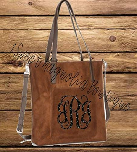 (PERSONALIZED BROWN SUEDE HANDBAG, TOTE, PURSE AND POUCH)