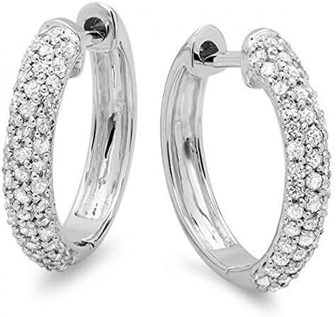 0.50 Carat (ctw) 14k Gold Round Diamond Ladies Pave Set Huggies Hoop Earrings 1/2 CT