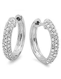 0.50 Carat (ctw) 10k Gold Round Diamond Ladies Pave Set Huggies Hoop Earrings 1/2 CT