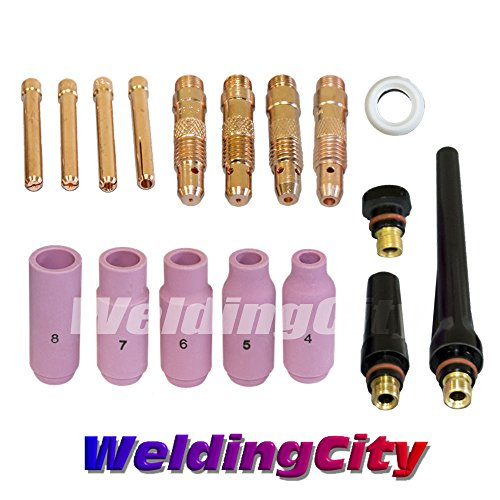 WeldingCity TIG Welding Accessory Kit Cup-Collet-Collet Body-Gasket-Back Cap 0.040