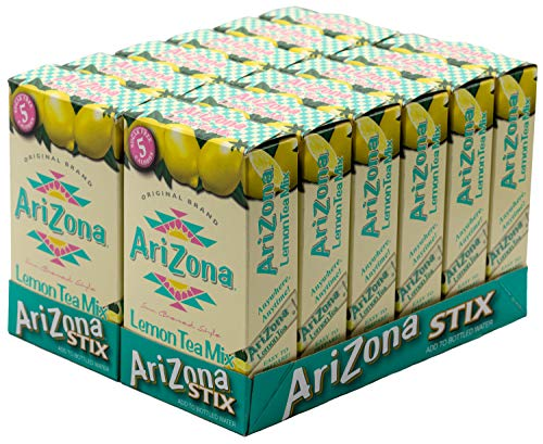 Arizona Lemon Iced Tea Stix Sugar Free, 10 Count Per Box (Pack of 12), Low Calorie Single Serving Drink Powder Packets, Just Add Water for a Deliciously Refreshing Iced Tea Beverage ()