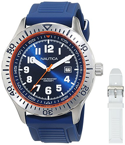 Nautica Men's NSR 105 Box Set Stainless Steel Quartz Watch with Silicone Strap, Blue, 22 (Model: NAD14005G) (Nautica Watches Box)