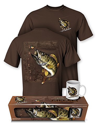 Follow the Action Walleye Hunter Fishing T-Shirt and Mug Premium Gift Set (Large) Dark Chocolate