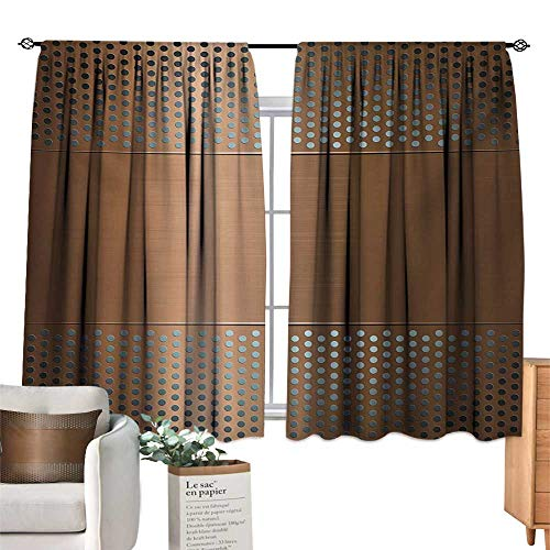 - Ediyuneth Adjustable Tie Up Shade Rod Pocket Curtain Industrial,Perforated Grid Plate Steel with Dots Illustration Futuristic Technology Theme,Ombre Bronze 72