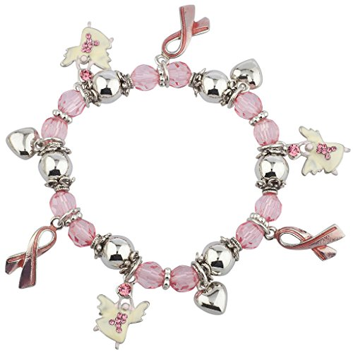 Lux Accessories Silvertone Breast Cancer Awareness Stretch Beaded Charm Bracelet