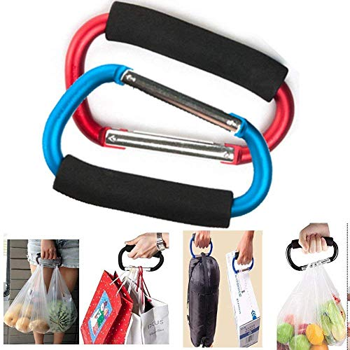 Grocery Bag Holder Handle Carrier Tool,Magnoloran 2 Pack Extra-large D-Shape Super-handy Snap Hook Hanger, Mommy Hook Carry Handle With Soft Foam Grip ()
