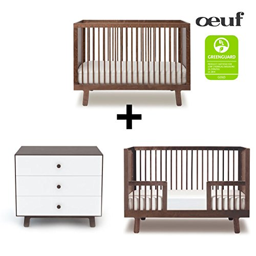 Oeuf Sparrow Collection Complete Nursery in Walnut with 3