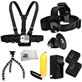 SSE Accessory Kit for GoPro HD HERO3+ - HERO3 (Black - Silver & White). Includes Chest Mount + Head Mount + 2 Extended Life Replacement Batteries + AC DC Rapid Home & Travel Charger + Gripster + Bobber Handle + Tripod Adapter + Microfiber Cleaning Cloth