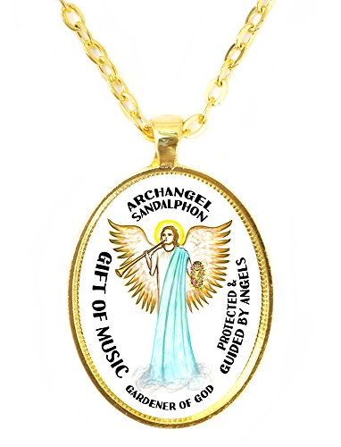 (Archangel Sandalphon Gift of Music Gardener of God Huge 30x40mm Bright Gold Pendant)