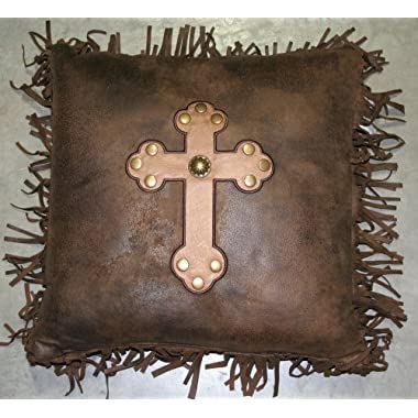 Western Monterrey Cross with Fringe Pillow