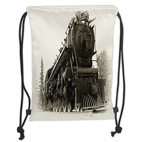 New Fashion Gym Drawstring Backpacks Bags,Steam Engine,Antique Northern Express Train Canada Railways Photo Freight Machine Print,Black Grey Soft Satin,Adjustable String Closure,T
