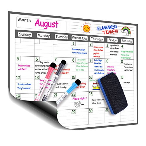 """Magnetic Refrigerator Dry Erase Calendar, 12"""" x 16"""" Monthly Planner Whiteboard Message Organizer for Kitchen Fridge with Free Magnetic Dry Erase Marker"""