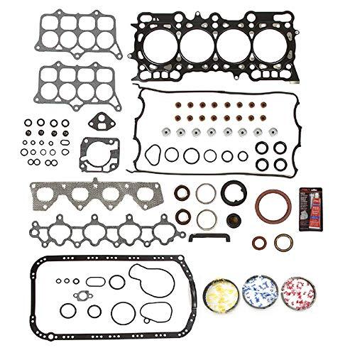 (Full Head Gasket Piston Rings Set Repair MLS Kit For 1993-1996 Honda Prelude Si 2.2L I4 VTEC Engine Code H22A1 Multi-layered Steel)