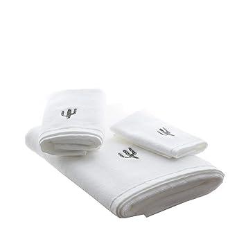 Cozzy - Juego de toallas bordadas (3 piezas, 1 toalla de mano y 1 toalla de baño, 100% algodón), color blanco: Amazon.es: Hogar