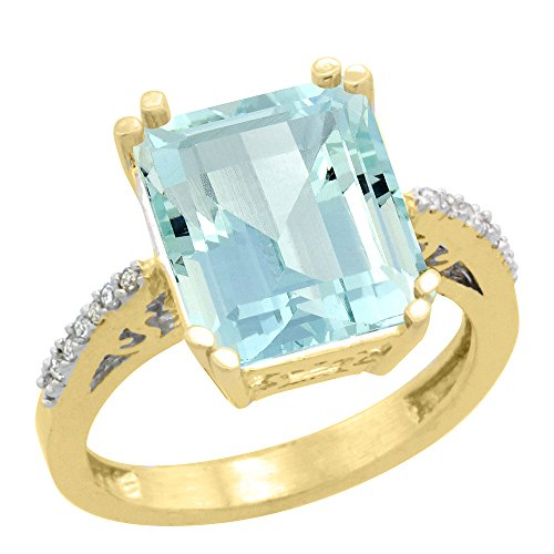 (14K Yellow Gold Diamond Natural Aquamarine Ring Emerald-cut 12x10mm, size 7)
